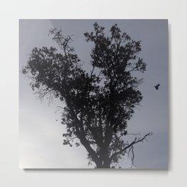 Flying crow heart tree Metal Print