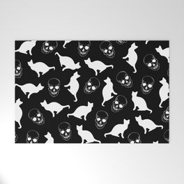 Skulls, Cats, Black and White, Pattern Welcome Mat