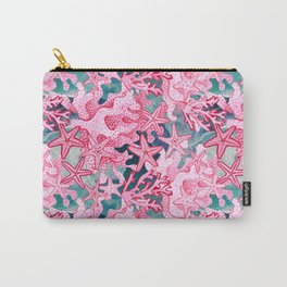 Pink Starfish and coral watercolor reef Carry-All Pouch