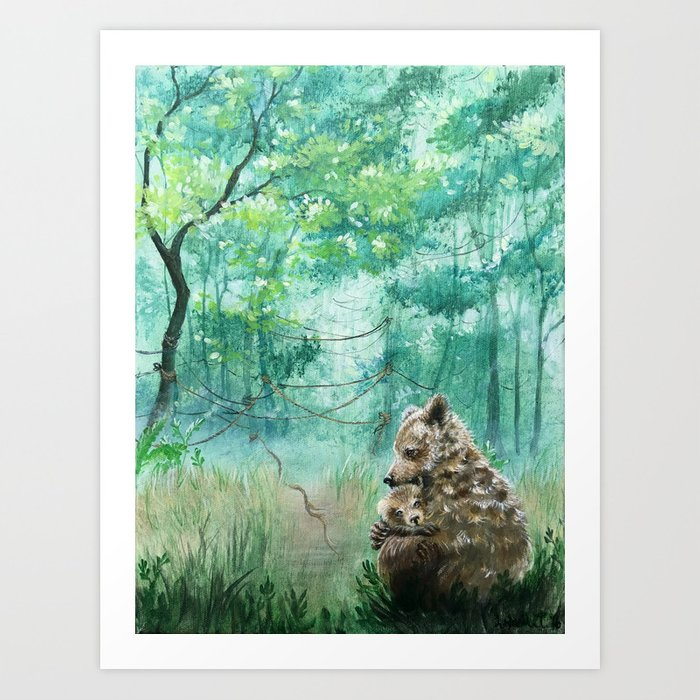 Mother Bear Hug Art Print