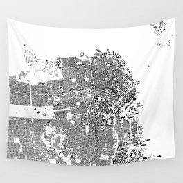 San Francisco Map Schwarzplan Only Buildings Wall Tapestry