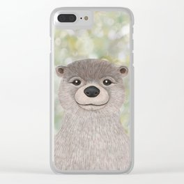 river otter woodland animal portrait Clear iPhone Case