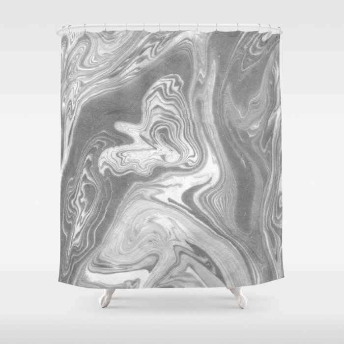 Eiji Spilled Ink Art Marbled Paper Marbling Abstract Painting Topography Nature Black And White Shower Curtain By Spilledink