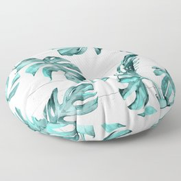 Turquoise Palm Leaves on White Wood Floor Pillow