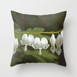 White Bleeding Hearts with Green Throw Pillow