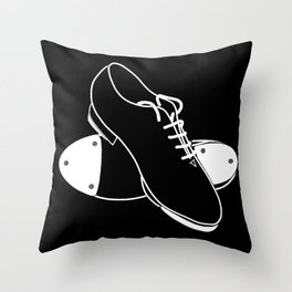 Tap shoes - white line on black background  Throw Pillow