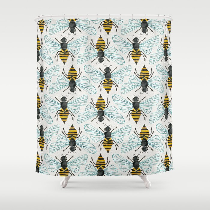 Honey Bee Shower Curtain By Catcoq