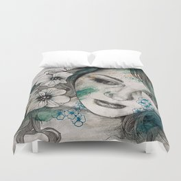 Cleopatra's Sling (flower tattoo lady portrait drawing) Duvet Cover