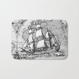ship on a background map . black and white . keep moving forward Bath Mat