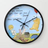 winnie the pooh Wall Clocks featuring Winnie the Pooh by Marilyn Rose Ortega