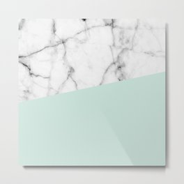 Real White marble Half pastel Mint Green Metal Print