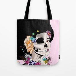 Sugar Skull Woman, Pink Background Tote Bag