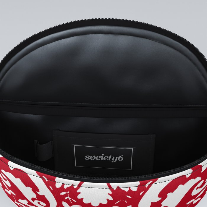 Paisley Damask Red and White Pattern Fanny Pack