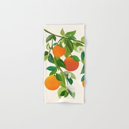 Oranges and Blossoms II / Tropical Fruit Illustration Hand & Bath Towel
