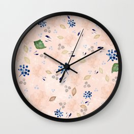 Watercolor and gold nature pattern Wall Clock