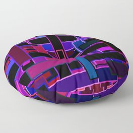 Midnight in the Metropolis Abstract of Rectangles Floor Pillow