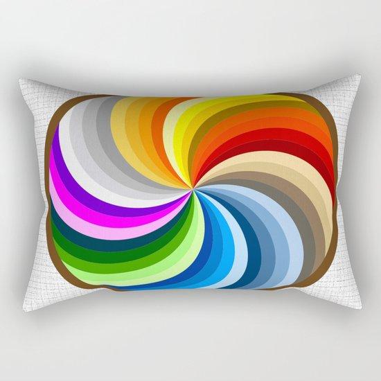Rainbow Swirl Multi-Coloured Circle Design Rectangular Pillow