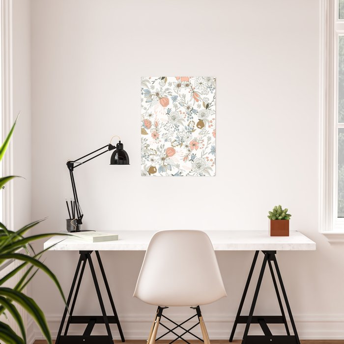 Abstract modern coral white pastel rustic floral Poster