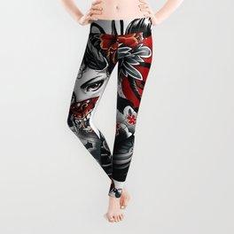 Cyberpunk Geisha Vaporwave Popart Girl Illustration  Leggings