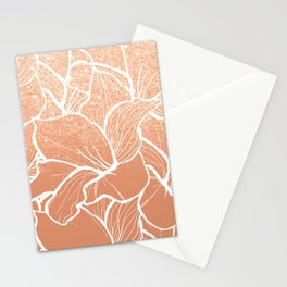 Modern copper tan terracotta glitter ombre color block white floral pattern illustration Stationery Cards