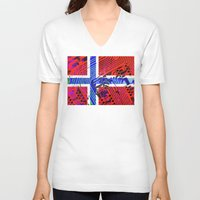 norway V-neck T-shirts featuring circuit board Norway (Flag) by seb mcnulty