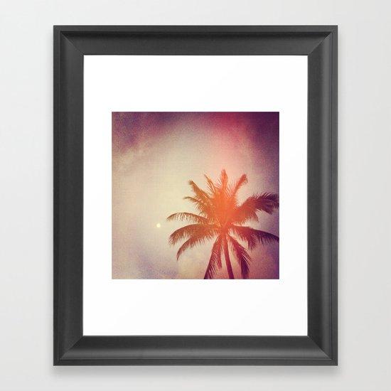 Palm & Moon Lanikai Framed Art Print