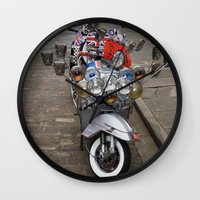 vespa Wall Clocks featuring Vespa by Organdie