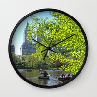 rowing Wall Clocks featuring Rowing at Central Park, NYC by Martha Washington