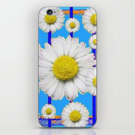 Modern Art Blue Shasta Flowers Pattern iPhone Skin