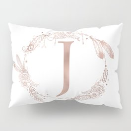 Letter J Rose Gold Pink Initial Monogram Pillow Sham
