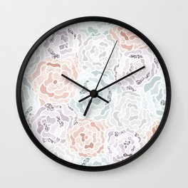 Abstract Roses Neck Gator Pastel Roses Wall Clock
