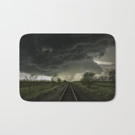 Give Me Shelter - Storm Over Railroad Tracks in Kansas Bath Mat