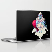 snowboard Laptop & iPad Skins featuring Snowboard Yeti [black background] by garciarts