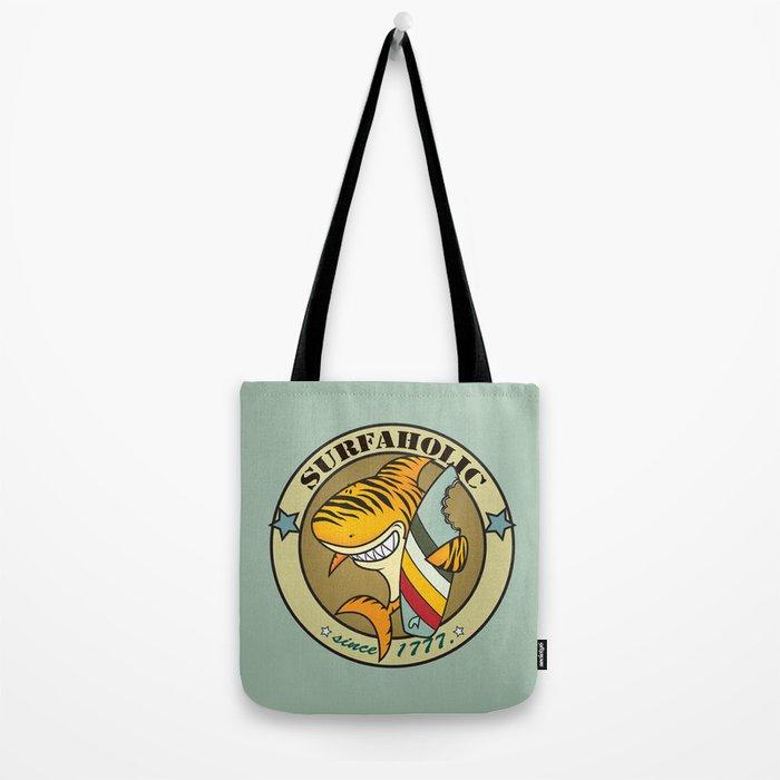 Surfaholic tiger shark Tote Bag