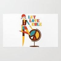 hippie Area & Throw Rugs featuring Hippie Chick by Szoki