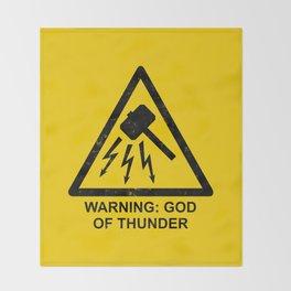 Warning: God of Thunder Throw Blanket