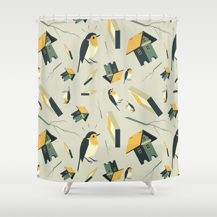 Flying Birdhouse Pattern Shower Curtain