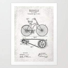 Bicycle old patent Art Print