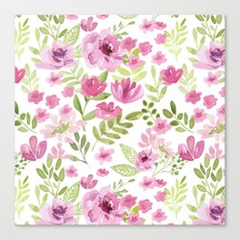 Watercolor/Ink Sweet Pink Floral Painting Canvas Print