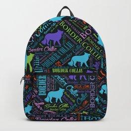 Border Collie Dog Word Art pattern Backpack