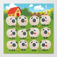 sheep Canvas Prints featuring Sheep by Elle Moz
