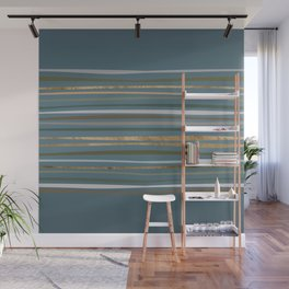 Blueprint and Stripes 2 Wall Mural