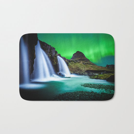 Aurora Borealis Waterfall Bath Mat