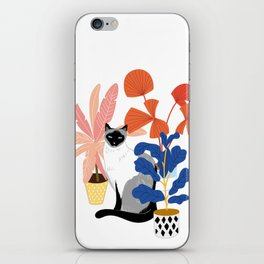 siamese cat and plants iPhone Skin