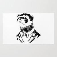 ferret Area & Throw Rugs featuring Fancy Ferret by JK Designs