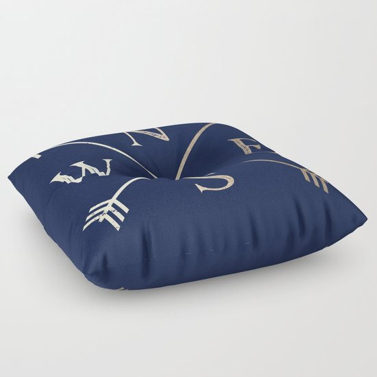 Floor Pillows Navy : Gold on Navy Blue Compass Floor Pillow by Cascadia Society6
