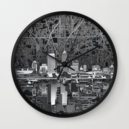 indianapolis city skyline black and white Wall Clock