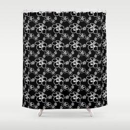 Black And White Hibiscus Hawaiian Shower Curtain
