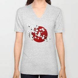 Red Black And White Cherry Blossoms Unisex V-Neck
