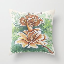 Empire of Mushrooms: Cantharellus cibarius Throw Pillow
